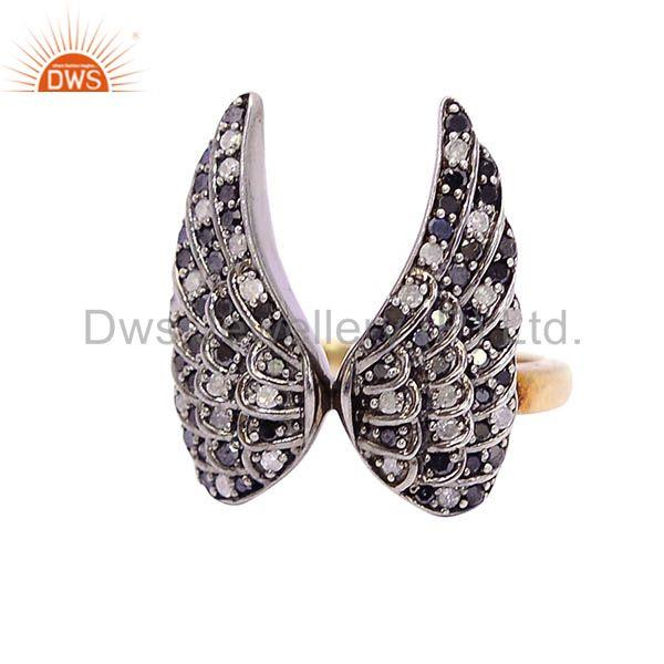 0.69ct pave diamond angel wing design ring .925 sterling silver jewelry
