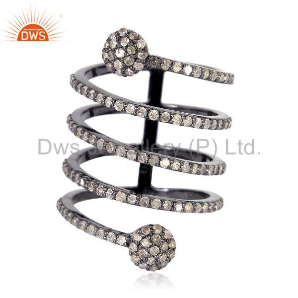 1.11 ct pave diamond .925 sterling silver designer spiral ring handmade jewelry