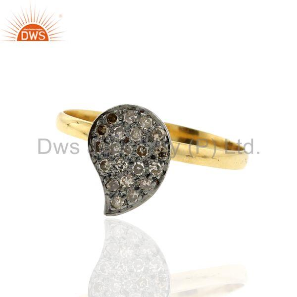 Vintage look pave diamond 14 k gold 925 sterling silver designer ring jewelry
