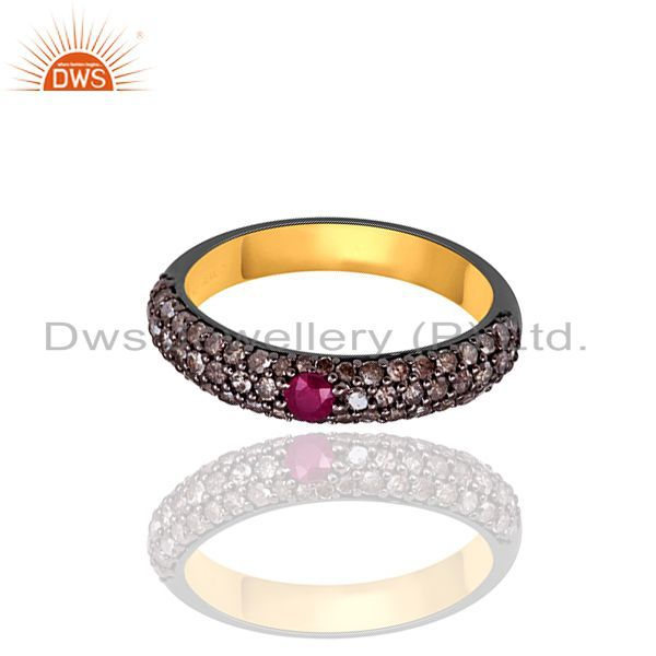 Ruby 0.79ct pave diamond half eternity band ring 925 sterling silver jewelry