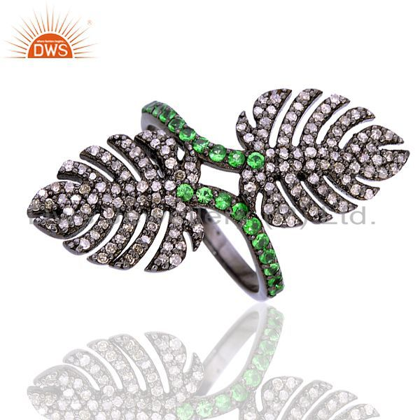 0.35 ct tsavorite pave diamond 925 sterling silver ring christmas gift jewelry