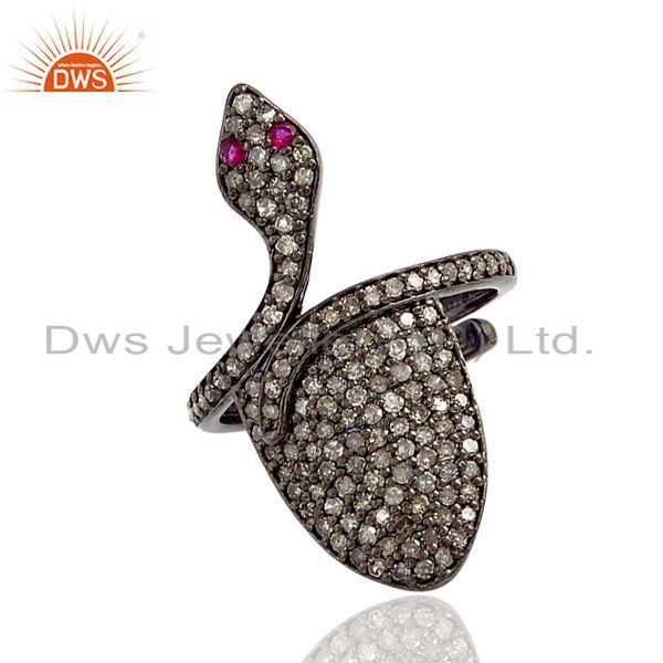0.78 ct pave diamond gemstone .925 sterling silver wrap snake ring women jewelry
