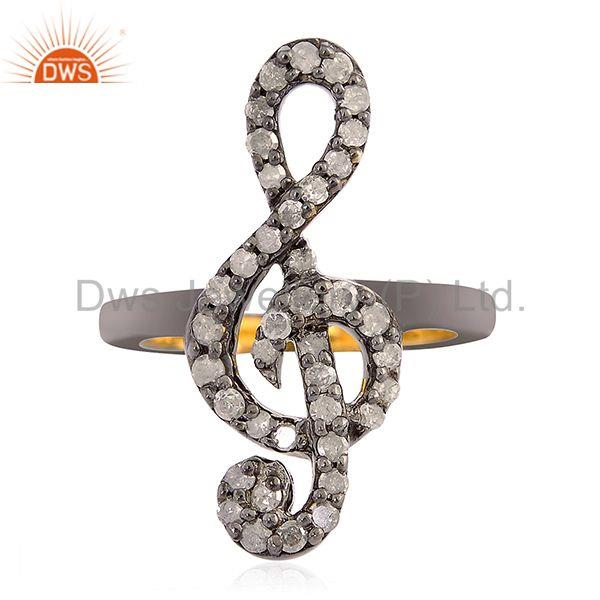 0.37 ct diamond 18kt gold 925 sterling silver treble clef sign midi ring jewelry