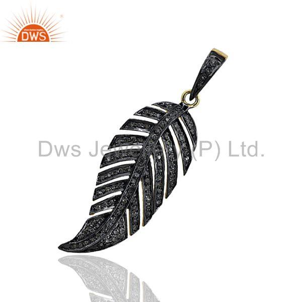 Leaf design pave diamond designer pendant jewelry findings wholesale