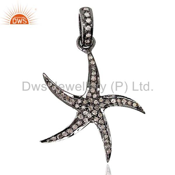 925 Silver Star Charm Pave Diamond Pendant Jewelry Findings Suppliers