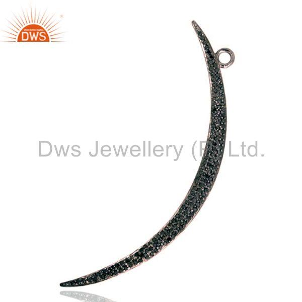 1.03ct Black Diamond Pave 925 Sterling Silver CRESCENT/HALF Moon Pendant Jewelry