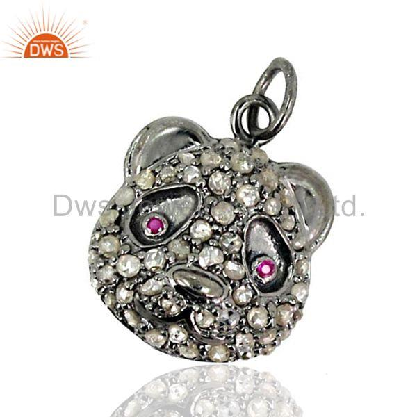Ruby 925 Silver Sterling Diamond Pendant Vintage Look Art Fashion Jewelry New