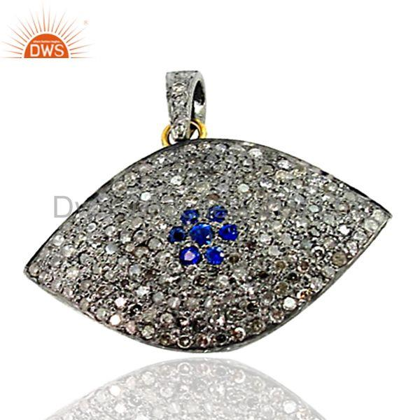 New 14k gold pave diamond evil eye pendant sapphire 925 silver wondering jewelry