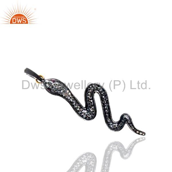 1.12Ct Diamond Pave 14K Gold WONDERING 925 Sterling Silver Snake Pendant Jewelry