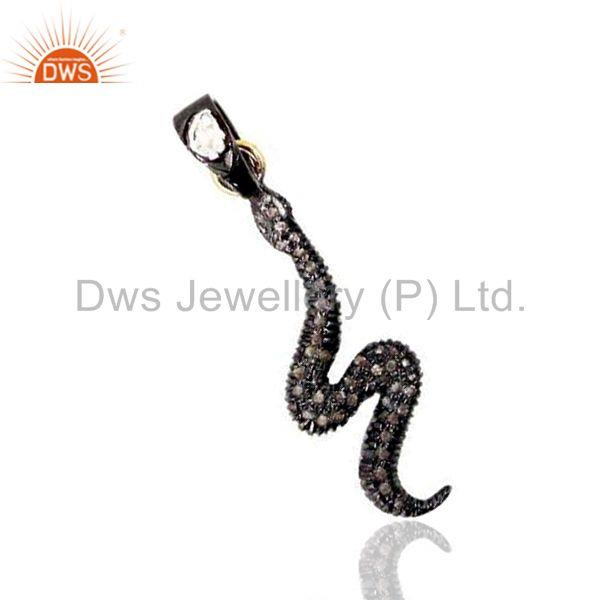 925 Sterling Silver Snake Pendant Pave Rose Cut Diamond 14k Gold Jewelry BY