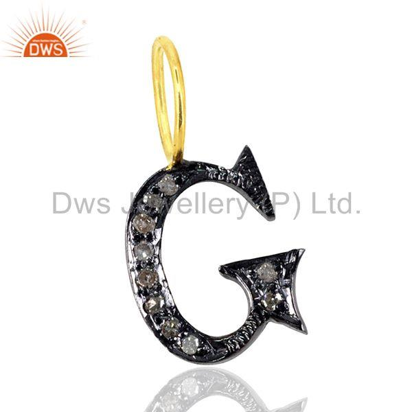 G initial charm natural pave diamond latest 925 sterling silver pendant jewelry