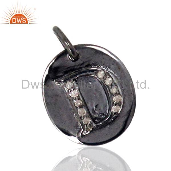 D Alphabet Initial Letter 925 Sterling Silver Charm Pendant Pave Diamond Jewelry