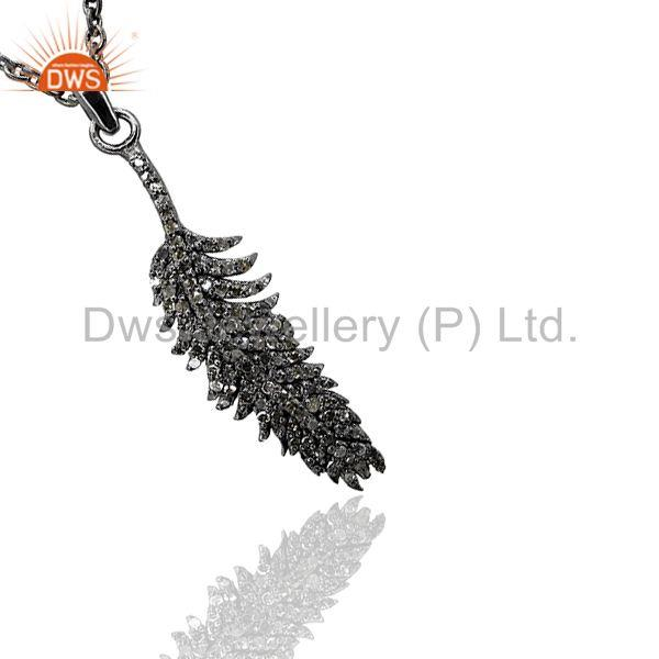 """solid .925 sterling silver natural diamond pave feather pendant designer jewelr"