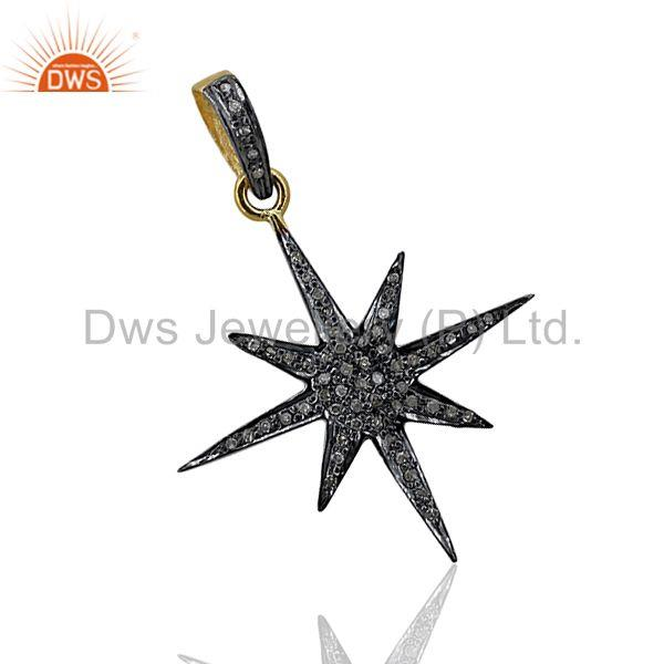 Real 0.48 Ct Diamond Pave Star Design Pendant Sterling Silver Jewelry 3 Pcs Lot