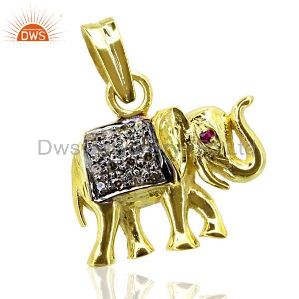 925 sterling silver elephant charm pendant pave diamond gold plated gift jewelry