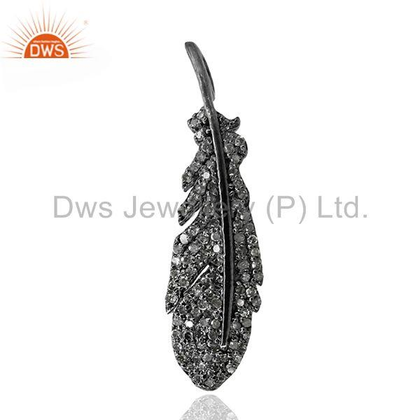 New Pave Diamond Leaf Style Fashion Pendant 925 Sterling Silver Designer Jewelry