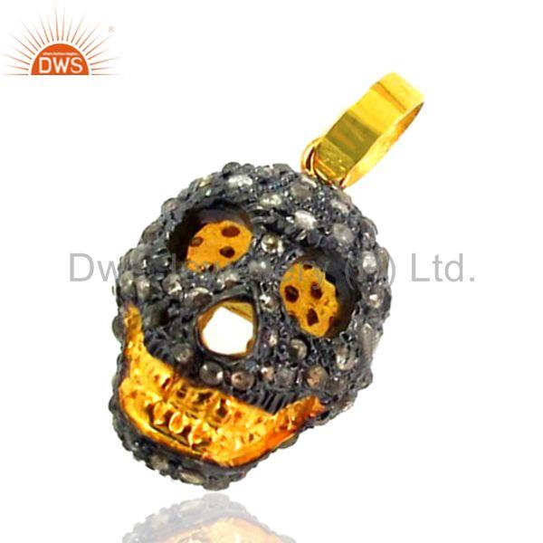 0k Gold Skull Charm Pendant 2ct Diamond Pave Sterling Silver HALLOWEEN Jewelry