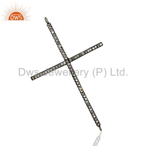 Cross Pendant Fine .925 Sterling Silver Diamond Pave Connector Findings Jewelry