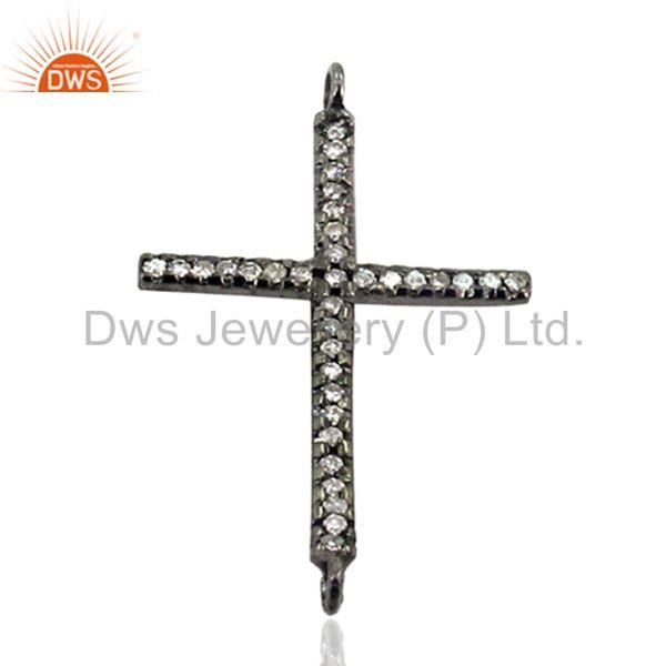 Diamond pave cross connector finding 925 sterling silver pendant jewelry 31x20mm