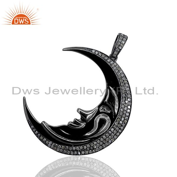 1ct Diamond Pave HALF/CRESCENT MOON Pendant Sterling Silver Vintage Look Jewelry