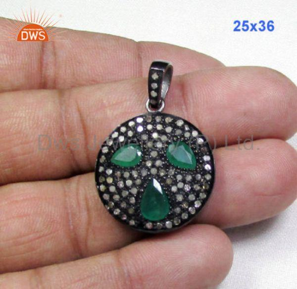 2.68 CT Green Emerald, Pave Diamonds 925 Sterling Silver Gemstone Pendant