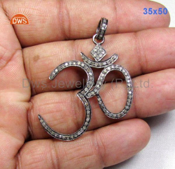 Om design, 1.45 ct pave diamonds 925 sterling silver pendant charm od-018