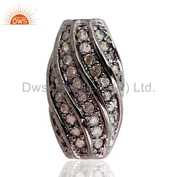 Natural Diamond Pave Vintage Style Spacer Finding 925 SilverJewelry 17x10 mm