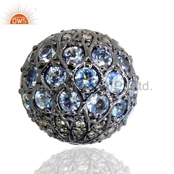 Blue Disco Bead Ball Topaz Diamond Spacer Finding LATEST Sterling Silver Jewelry