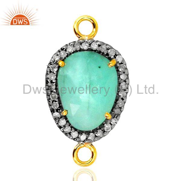 24x13 mm emerald gemstone diamond connector finding gold sterling silver jewelry