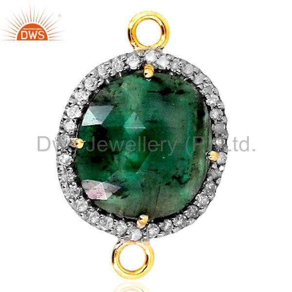 Sterling Silver Diamond Pave Gemstone Emerald Connector Finding 14k Gold Jewelry