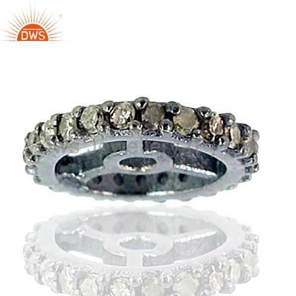 New Fashion .43ct Diamond Pave Wheel Spacer Findings Jewelry 925 Sterling Silver