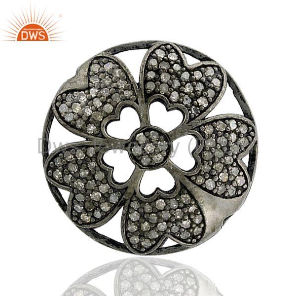 1.12ct pave diamond floral style spacer finding .925 sterling silver jewelry