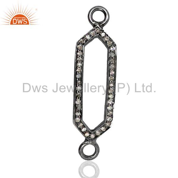 Genuine Pave Diamond 925 Silver Connector Jewelry Findings Wholesale
