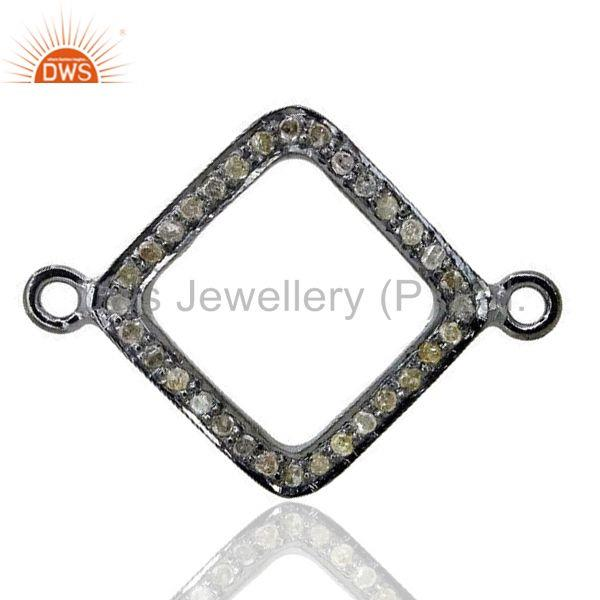 17 mm 925 sterling silver link bracelet connector diamond pave finding jewelry