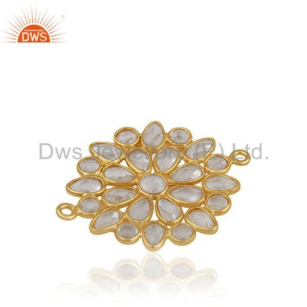 White zircon gold plated solid 925 silver connector jewelry finding manufacturer