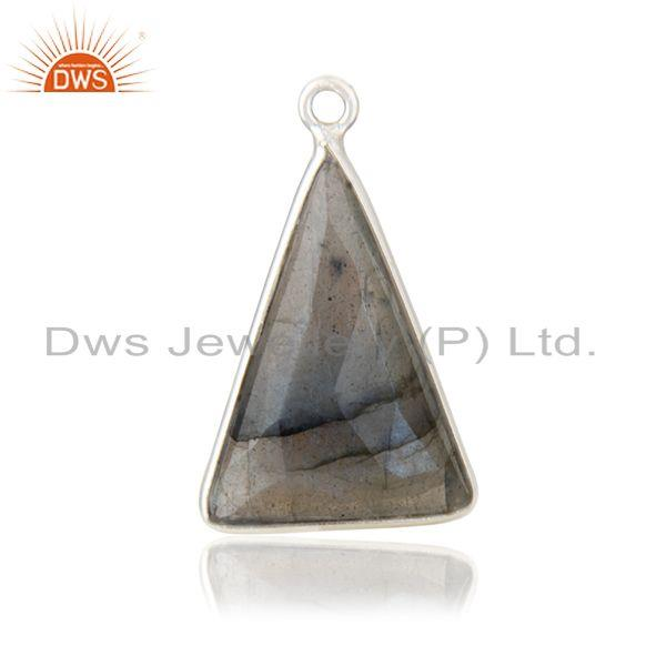 Labradorite gemstone 925 sterling fine silver triangle charm findings suppliers