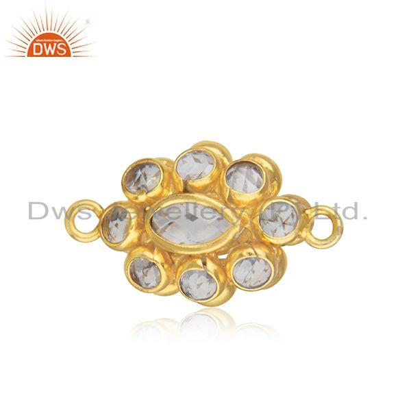 White zircon yellow gold plated sterling silver jewelry findings manufacturer