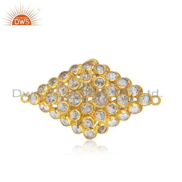92.5 sterling silver gold plated white zircon connector jewelry findings