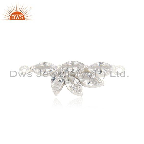 Silver plated brass fashion cz gemstone connector jewelry