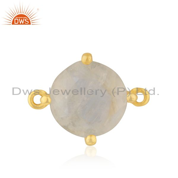 Rainbow moonstone designer gold plated brass connector jewelry