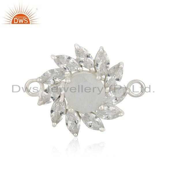 925 Sterling Fine Silver Floral White Zircon Gemstone Connector Jewelry