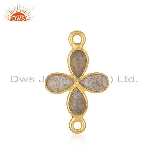 Wholesale labradorite gemstone gold plated brass fashion connectors