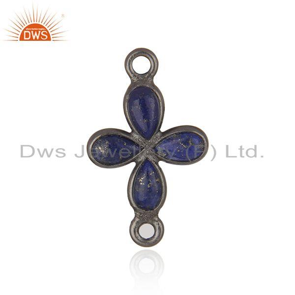 Lapis Lazuli Gemstone Black Rhodium Plated Jewelry Findings