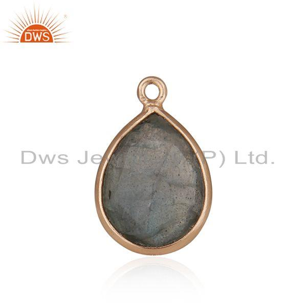 Labradorite Gemstone Rose Gold Plated 925 Silver Jewelry Findings