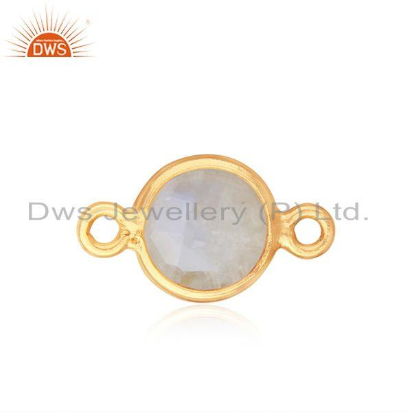 Rainbow Moonstone Gold Plated 925 Silver Connector Jewelry Finding