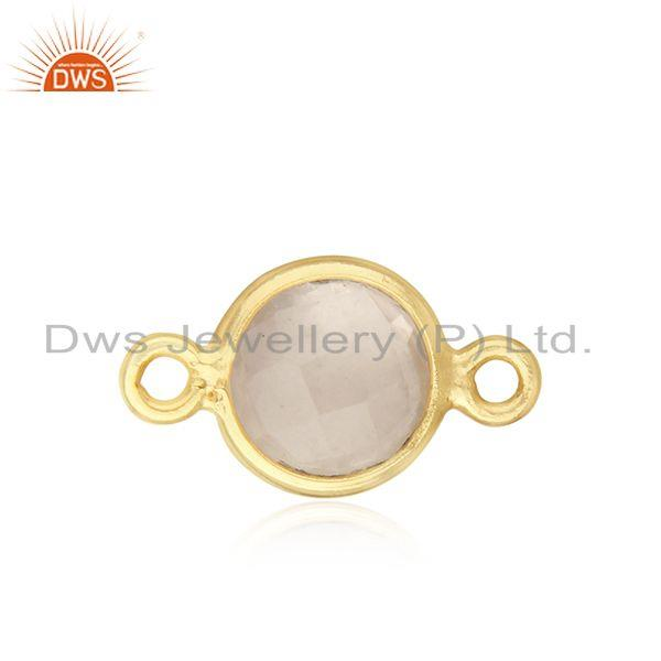 Gold plated 925 silver rose quartz gemstone connector supplier