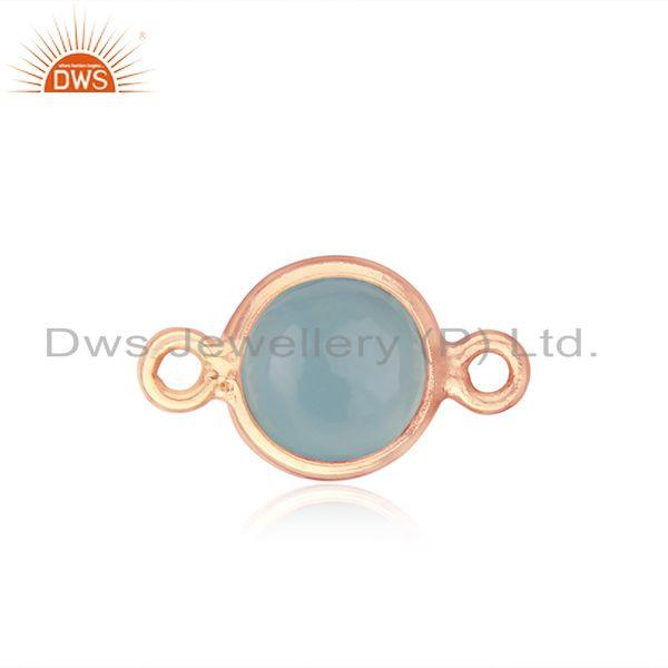 Chalcedony Gemstone Rose Gold Plated 925 Silver Connector