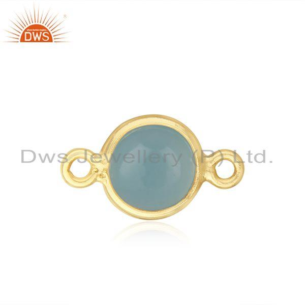 Gold plated sterling silver chalcedony gemstone connector