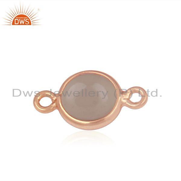 Gold Plated 925 Silver Rose Chalcedony Gemstone Connectors