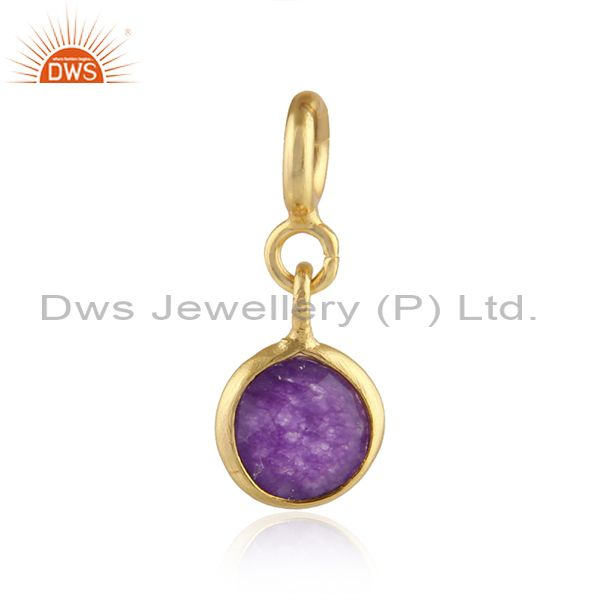 Purple Aventurine Gemstone Gold Plated Pendant Connect Findings